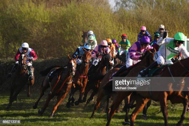 Derek Fox on One For Arthur clears Canal Turn on the second circuit during day three of the Randox Health Grand National meeting at Aintree...
