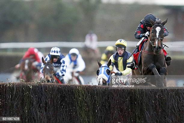 Derek Fox riding One For Arthur clear the last to win The Betfred Classic Handicap Steeple Chase at Warwick Racecourse on January 14 2017 in Warwick...