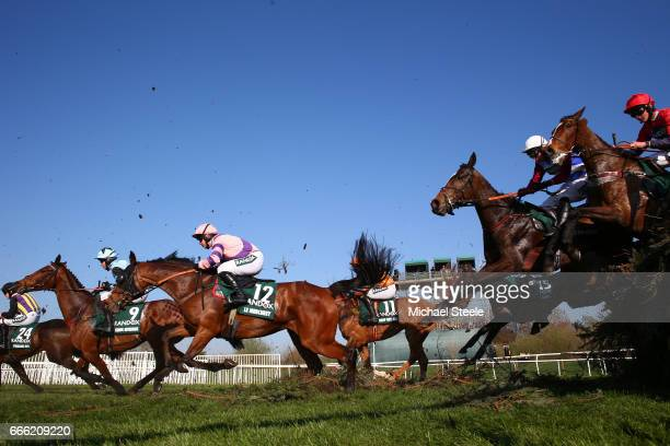 Derek Fox riding One For Arthur takes the Canal Turn during the 2017 Randox Heath Grand National at Aintree Racecourse on April 8 2017 in Liverpool...