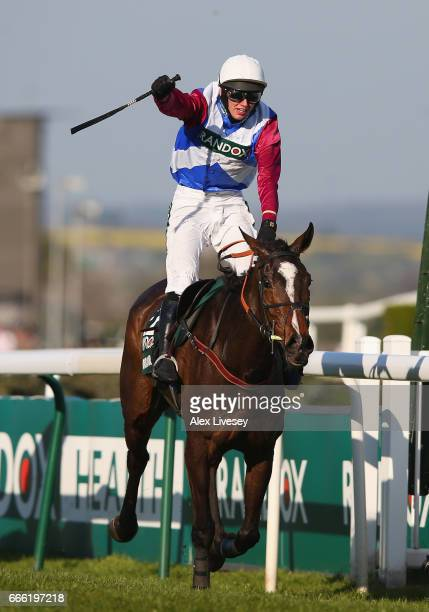 Derek Fox riding One For Aruthur wins the 2017 Randox Heath Grand National at Aintree Racecourse on April 8 2017 in Liverpool England