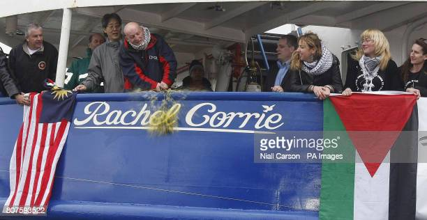 Derek Graham from Co Mayo uses a bottle of Palestinian olive oil to officially name the Cargo ship the MV Rachel Corrie after a human rights activist...