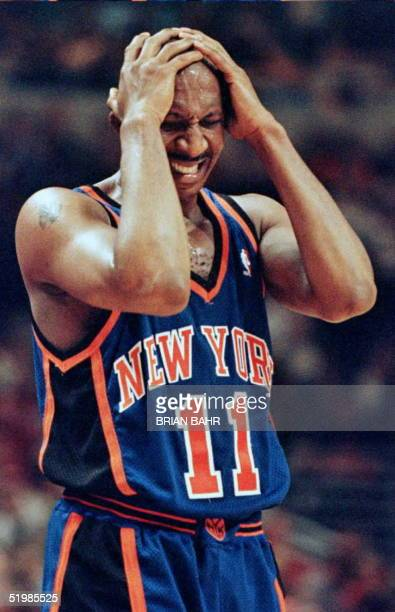Derek Harper guard for the New York Knicks reacts after being called for a foul in the fourth quarter 05 May in the first game of the Eastern...