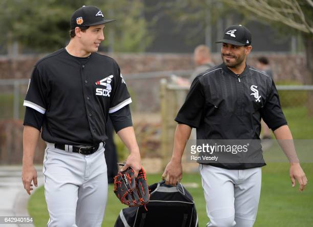 Derek Holland and Geovany Soto of the Chicago White Sox share a light moment during spring training workouts on February 18 2017 at Camelback Ranch...