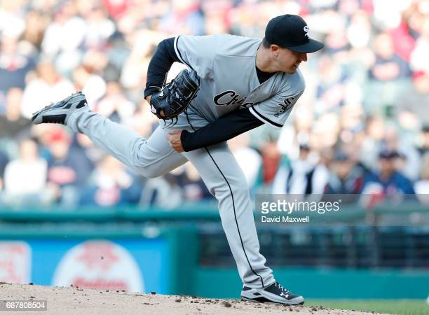 Derek Holland of the Chicago White Sox pitches against the Cleveland Indians in the first inning at Progressive Field on April 12 2017 in Cleveland...