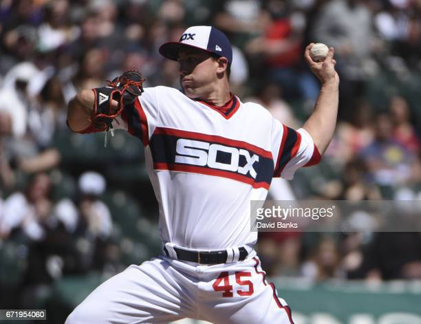 Derek Holland of the Chicago White Sox pitches against the Cleveland Indians during the first inning on April 23 2017 at Guaranteed Rate Field in...