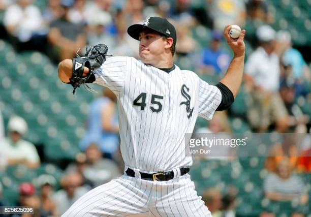 Derek Holland of the Chicago White Sox pitches against the Toronto Blue Jays during the first inning at Guaranteed Rate Field on August 2 2017 in...