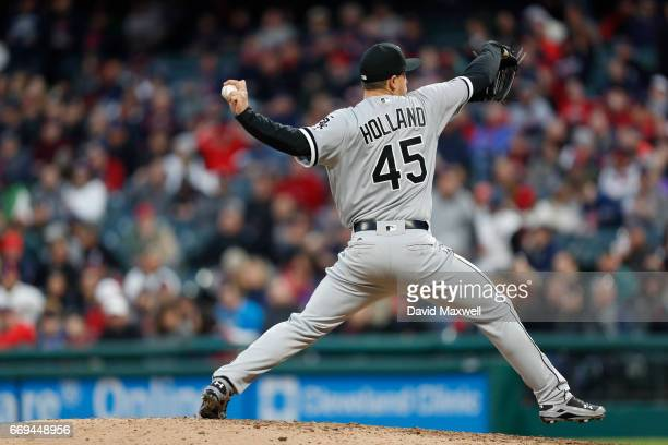 Derek Holland of the Chicago White Sox pitches in the sixth inning against the Cleveland Indians at Progressive Field on April 12 2017 in Cleveland...