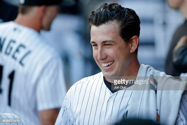 Derek Holland of the Chicago White Sox smiles in the dugout before the game against the Cleveland Indians at Guaranteed Rate Field on July 28 2017 in...