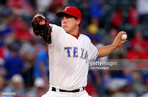 Derek Holland of the Texas Rangers pitches against the Los Angeles Angels in the top of the first inning at Globe Life Park in Arlington on September...