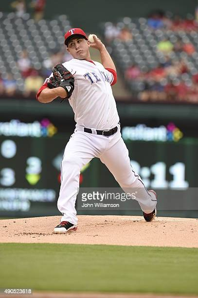 Derek Holland of the Texas Rangers pitches against the Seattle Mariners at Globe Life Park in Arlington on September 20 2015 in Arlington Texas The...