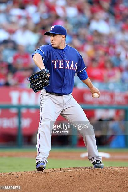 Derek Holland of the Texas Rangers pitches during the game against the Los Angeles Angels of Anaheim at Angel Stadium on September 5 2015 in Anaheim...