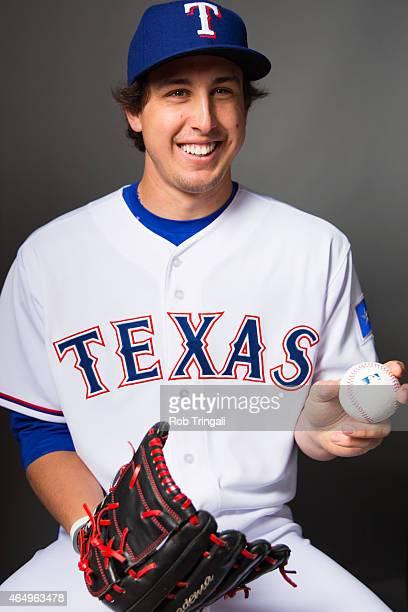 Derek Holland of the Texas Rangers poses for a portrait during photo day at Surprise Stadium on March 2 2015 in Surprise Arizona