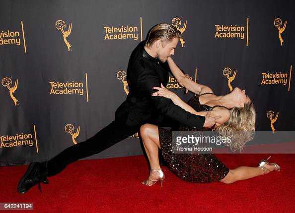 Derek Hough and Ekaterina Fedosova attend Television Academy's 'Whose Dance Is It Anyway' celebration at Saban Media Center on February 16 2017 in...