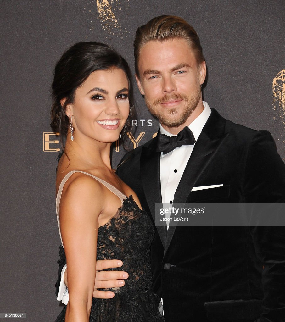 Derek Hough and Hayley Erbert attend the 2017 Creative Arts Emmy Awards at Microsoft Theater on September 9, 2017 in Los Angeles, California.