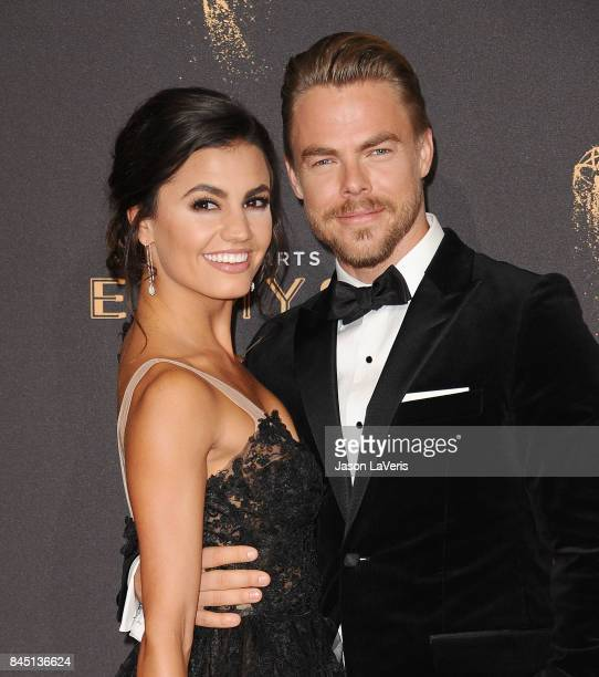 Derek Hough and Hayley Erbert attend the 2017 Creative Arts Emmy Awards at Microsoft Theater on September 9 2017 in Los Angeles California