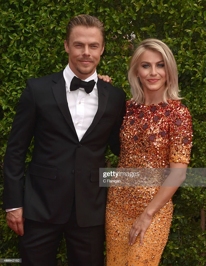Derek Hough and Julianne Hough attend the 2015 Creative Arts Emmy Awards at Microsoft Theater on September 12, 2015 in Los Angeles, California.