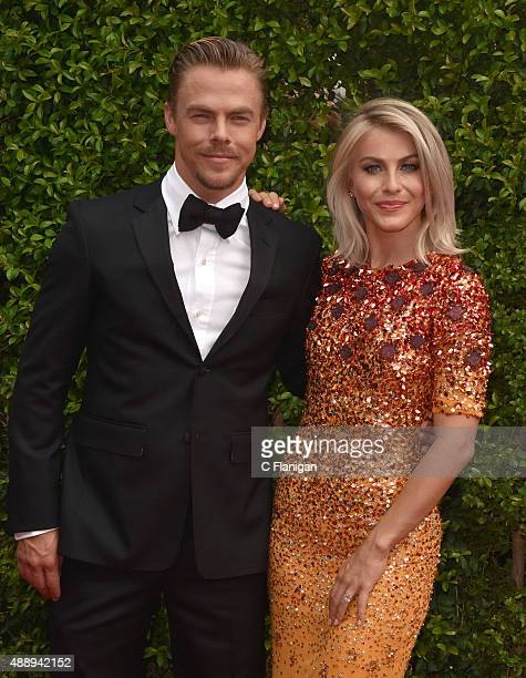 Derek Hough and Julianne Hough attend the 2015 Creative Arts Emmy Awards at Microsoft Theater on September 12 2015 in Los Angeles California