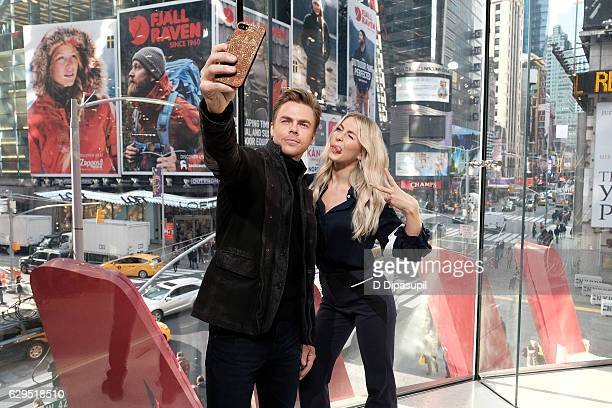 Derek Hough and Julianne Hough visit 'Extra' at their New York studios at HM in Times Square on December 13 2016 in New York City