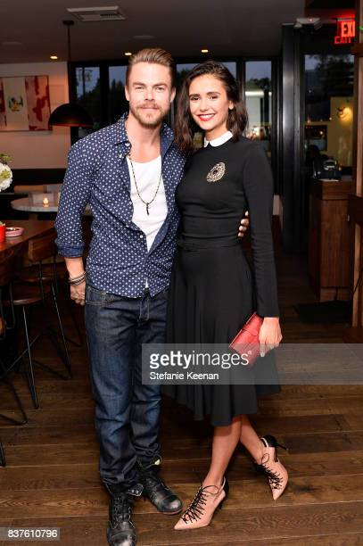 Derek Hough and Nina Dobrev attend Nina Dobrev celebrates the harper by Harper's BAZAAR September Issue with an Event Presented By Sephora In LA at...