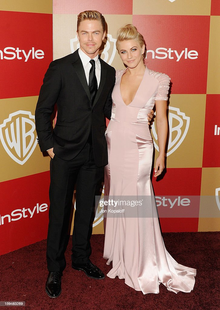 Derek Hough and sister actress Julianne Hough arrives at the InStyle And Warner Bros. Golden Globe Party at The Beverly Hilton Hotel on January 13, 2013 in Beverly Hills, California.