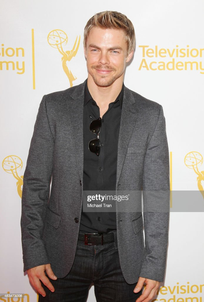 <a gi-track='captionPersonalityLinkClicked' href=/galleries/search?phrase=Derek+Hough&family=editorial&specificpeople=4532214 ng-click='$event.stopPropagation()'>Derek Hough</a> arrives at Television Academy's Directors Peer Group choreographers celebration held at Leonard H. Goldenson Theatre on August 10, 2014 in North Hollywood, California.