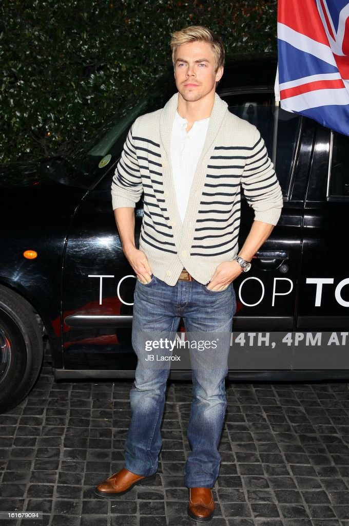 <a gi-track='captionPersonalityLinkClicked' href=/galleries/search?phrase=Derek+Hough&family=editorial&specificpeople=4532214 ng-click='$event.stopPropagation()'>Derek Hough</a> attends the Topshop Topman LA Opening Party held at Cecconi's Restaurant on February 13, 2013 in Los Angeles, California.