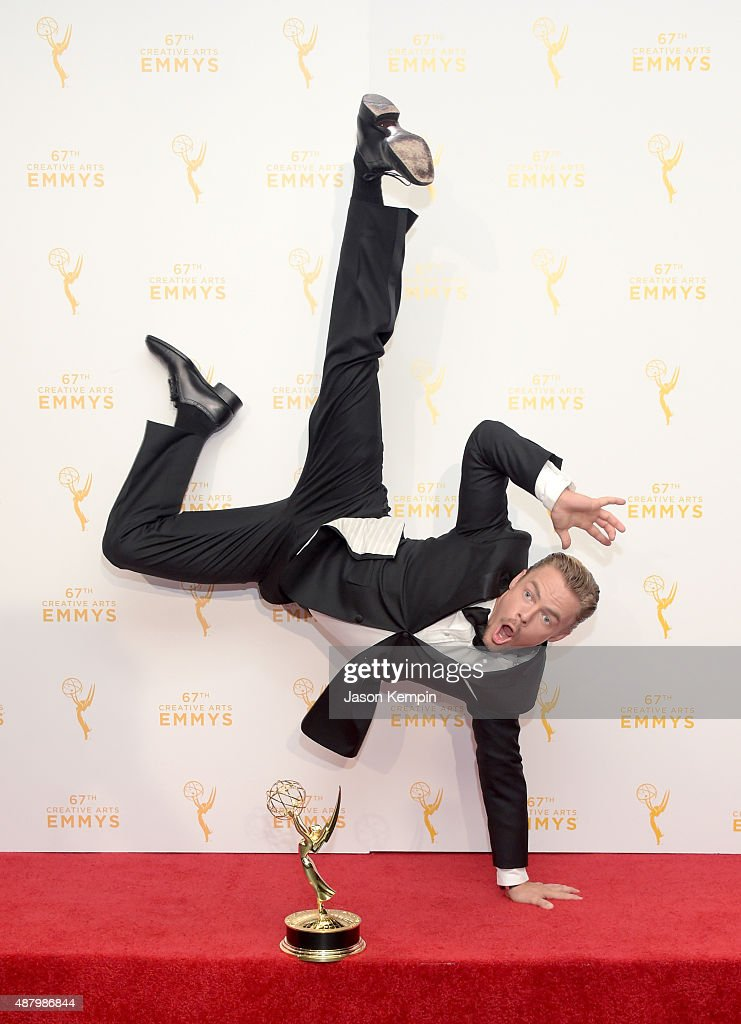 Derek Hough co-winner of the award for Outstanding Choreography for 'Dancing with the Stars,' poses in the press room during the 2015 Creative Arts Emmy Awards at Microsoft Theater on September 12, 2015 in Los Angeles, California.