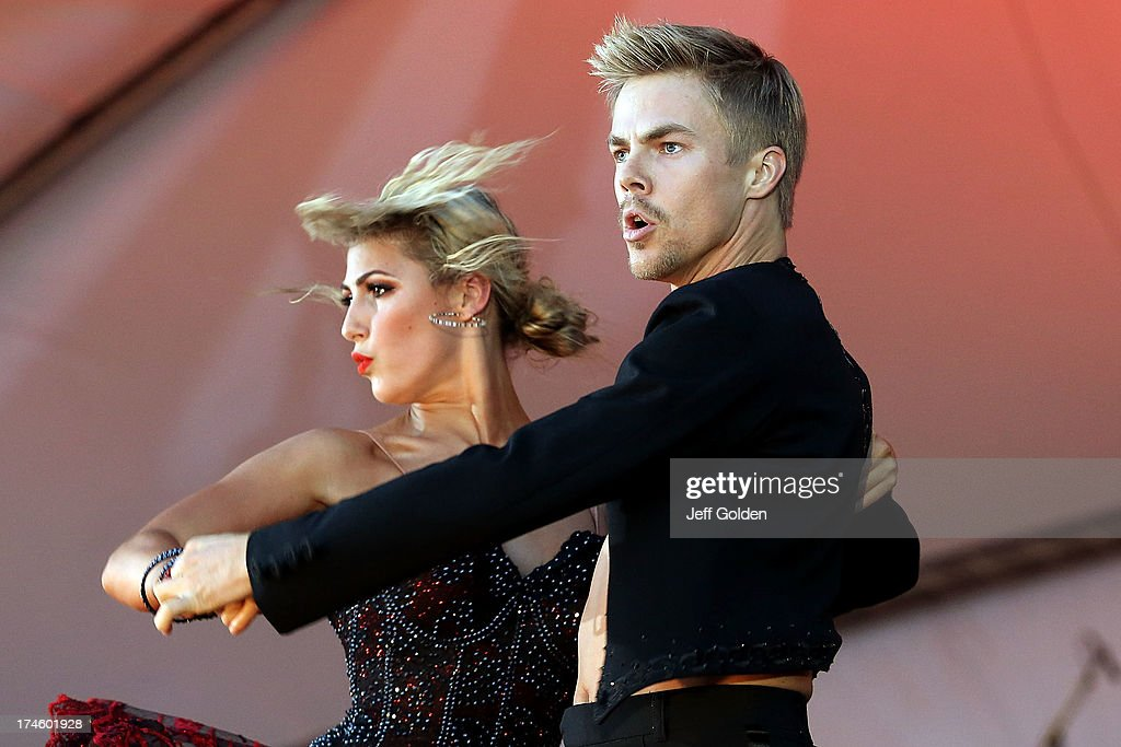 Derek Hough dances with partner Emma Slater during the California Philharmonic Festival on the Green at Santa Anita Race Track on July 27, 2013 in Arcadia, California.