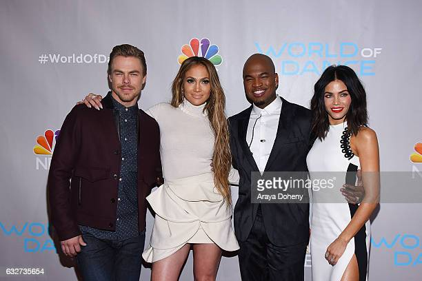 Derek Hough Jennifer Lopez NeYo and Jenna Dewan Tatum attend the Photo Op for NBC's 'World Of Dance' at NBC Universal Lot on January 25 2017 in...