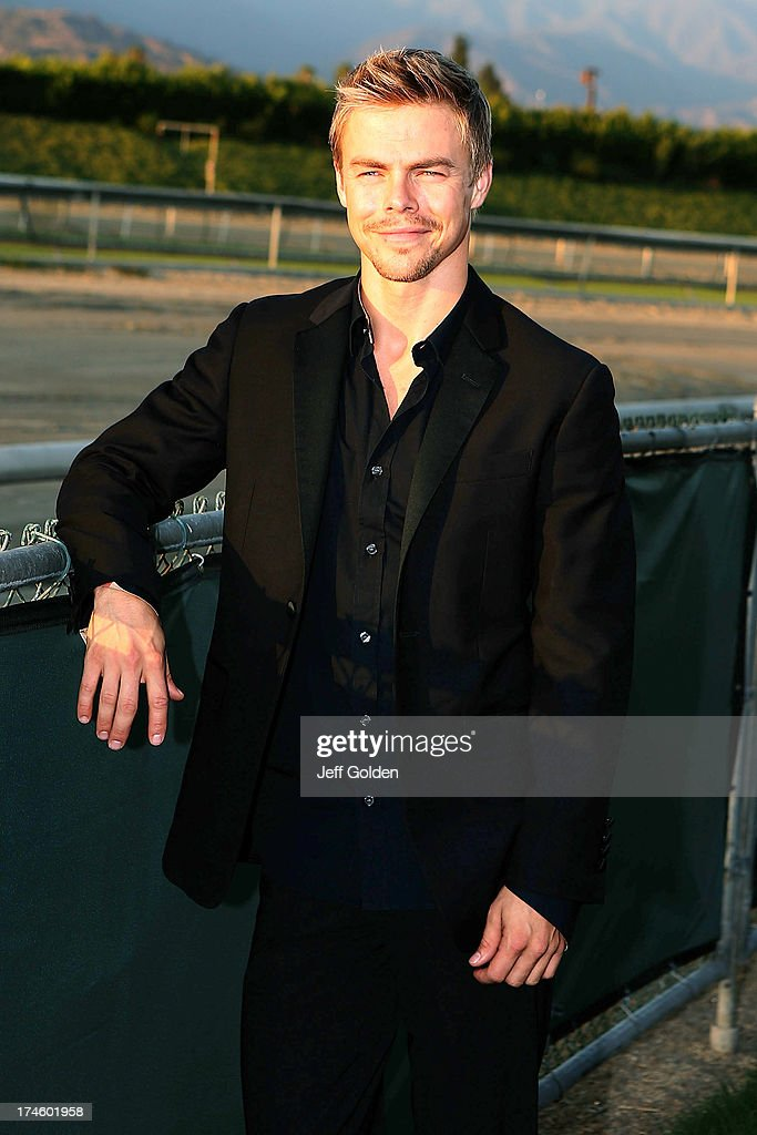 <a gi-track='captionPersonalityLinkClicked' href=/galleries/search?phrase=Derek+Hough&family=editorial&specificpeople=4532214 ng-click='$event.stopPropagation()'>Derek Hough</a> poses backstage before the California Philharmonic Festival on the Green at Santa Anita Race Track on July 27, 2013 in Arcadia, California.