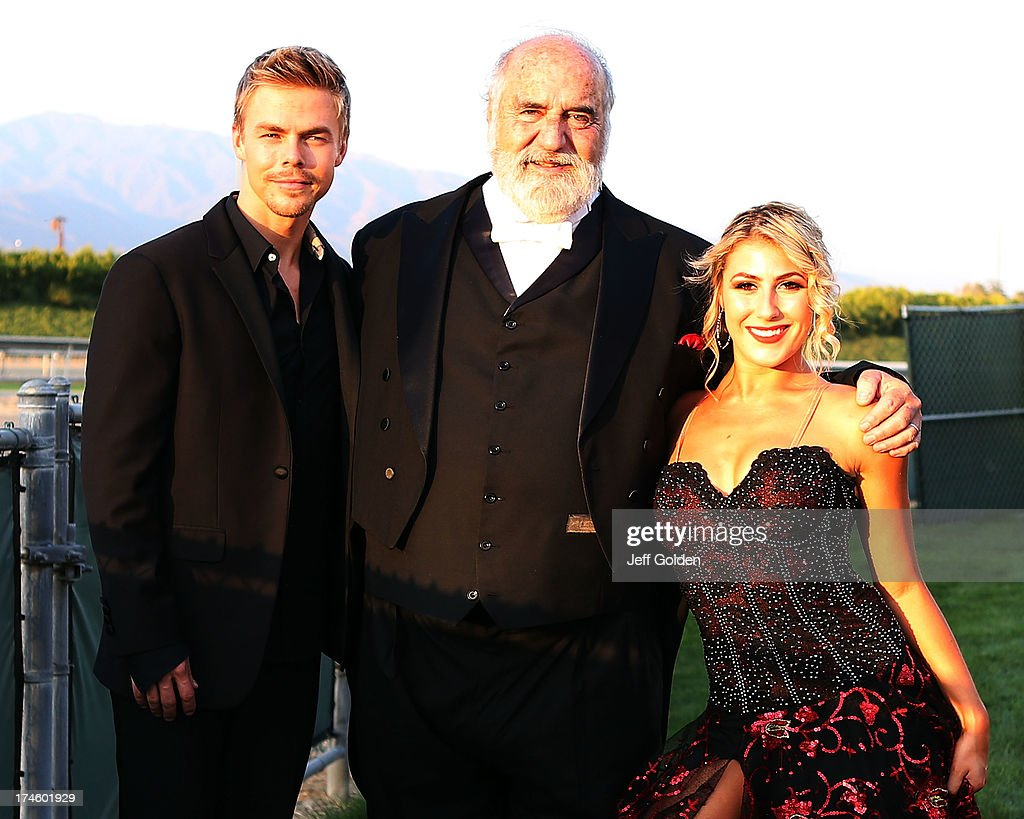 Derek Hough poses backstage with Maestro Victor Vener and dancing partner Emma Slater before the California Philharmonic Festival on the Green at Santa Anita Race Track on July 27, 2013 in Arcadia, California.