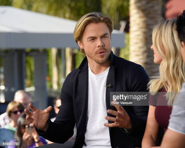 Derek Hough visits 'Extra' at Universal Studios Hollywood on March 7 2017 in Universal City California