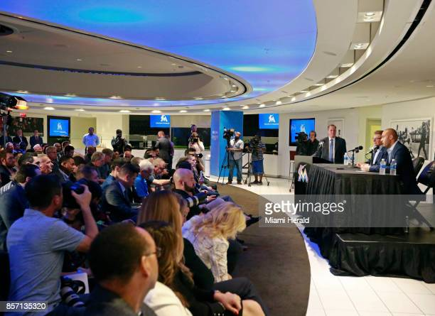 Derek Jeter and Bruce Sherman hold their first press conference as Miami Marlins owners on Tuesday Oct 3 2017