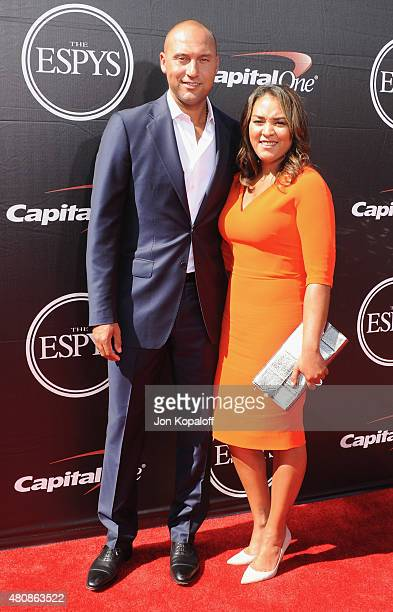 Derek Jeter and mom Dorothy Jeter arrive at The 2015 ESPYS at Microsoft Theater on July 15 2015 in Los Angeles California