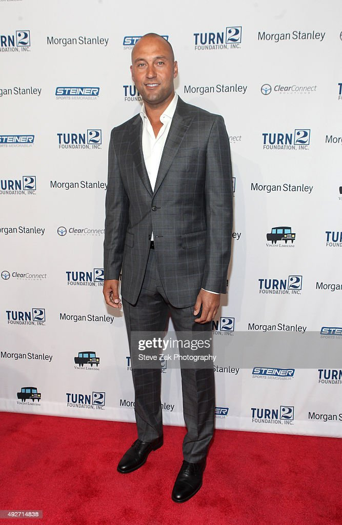 <a gi-track='captionPersonalityLinkClicked' href=/galleries/search?phrase=Derek+Jeter&family=editorial&specificpeople=167125 ng-click='$event.stopPropagation()'>Derek Jeter</a> attends 19th Annual Turn 2 Foundation Dinner at Cipriani Wall Street on October 14, 2015 in New York City.