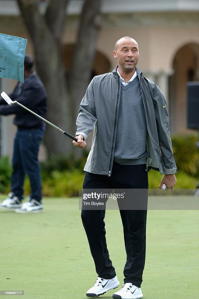 <a gi-track='captionPersonalityLinkClicked' href=/galleries/search?phrase=Derek+Jeter&family=editorial&specificpeople=167125 ng-click='$event.stopPropagation()'>Derek Jeter</a> attends the <a gi-track='captionPersonalityLinkClicked' href=/galleries/search?phrase=Derek+Jeter&family=editorial&specificpeople=167125 ng-click='$event.stopPropagation()'>Derek Jeter</a> 10th Annual Celebrity Golf Tournament Classic to benefit his Turn 2 Foundation presented by Seminole Hard Rock Hotel & Casino at Avila Golf & Country Club on January 18, 2013 in Tampa, Florida.