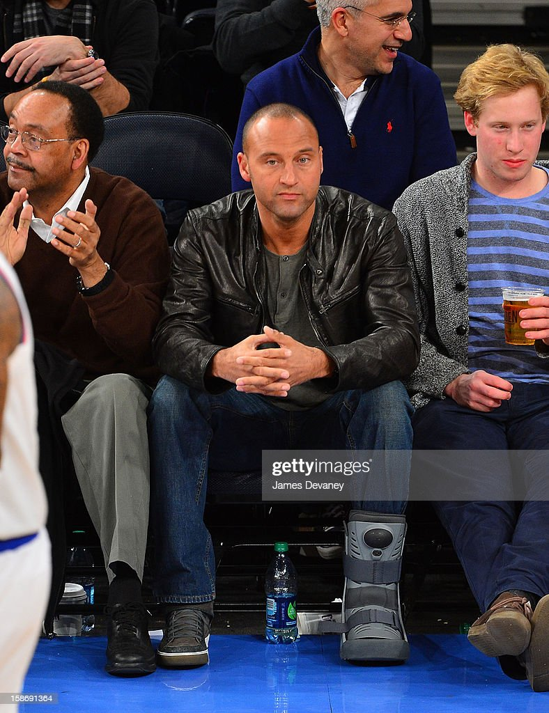 Derek Jeter attends the Minnesota Timberwolves vs New York Knicks game at Madison Square Garden on December 23, 2012 in New York City.