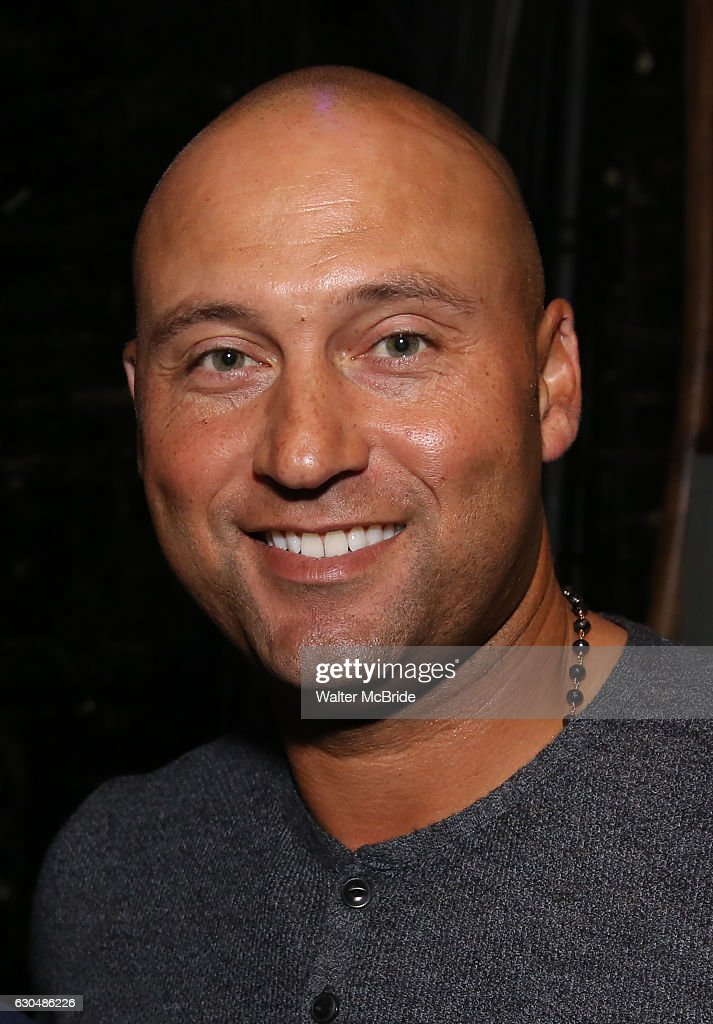 Derek Jeter backstage after a performance of 'Hamilton' at the Richard Rodgers Theatre on December 23, 2016 in New York City.