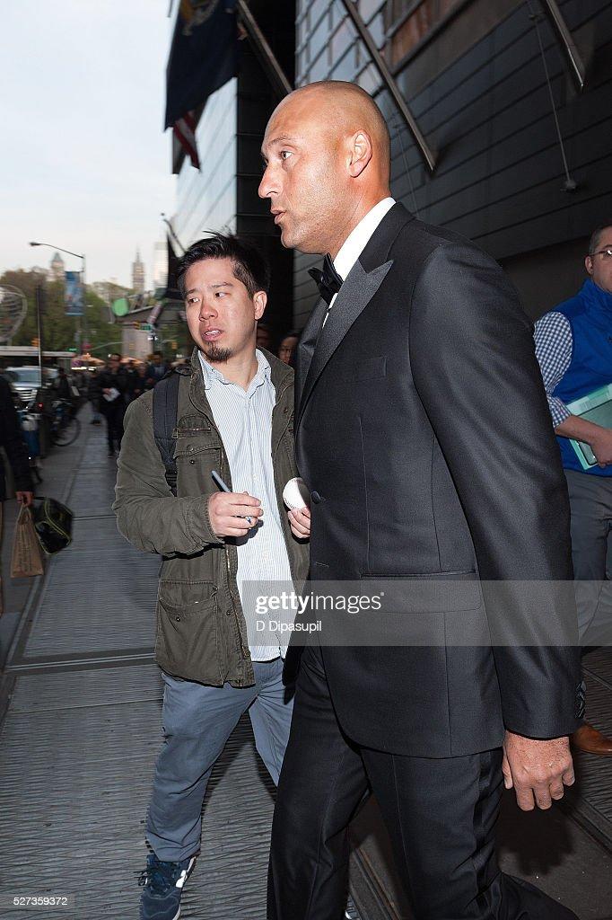 Derek Jeter is seen departing the Mandarin Oriental hotel on May 2, 2016 in New York City.