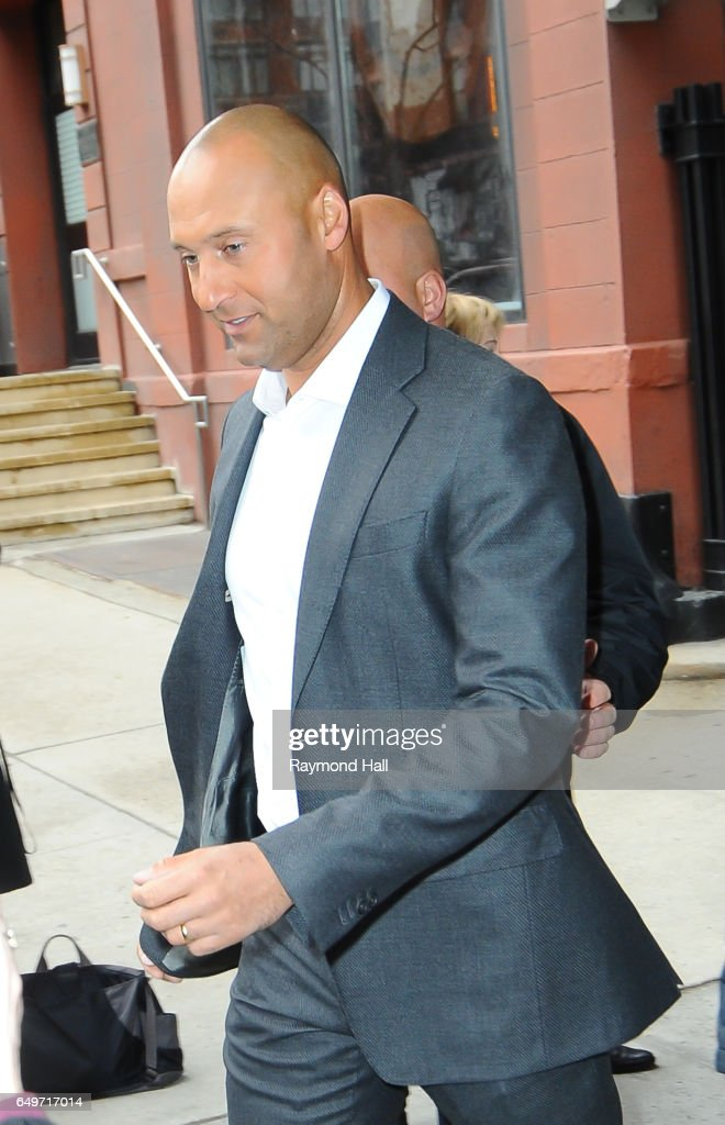 Derek Jeter is seen outside CBS Morning Soho on March 8, 2017 in New York City.