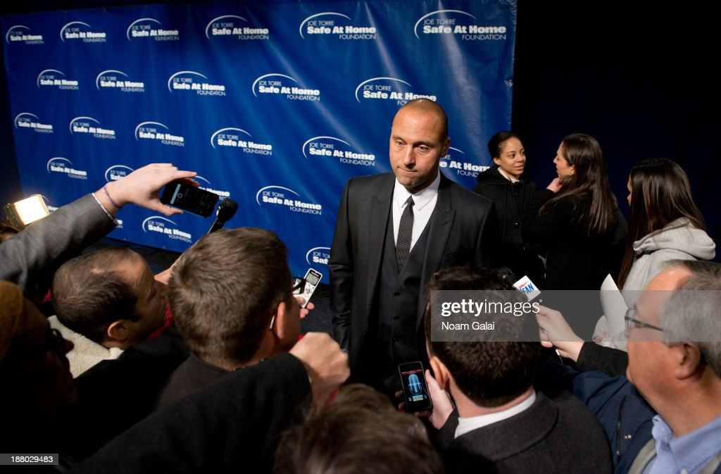 <a gi-track='captionPersonalityLinkClicked' href=/galleries/search?phrase=Derek+Jeter&family=editorial&specificpeople=167125 ng-click='$event.stopPropagation()'>Derek Jeter</a> of the New York Yankees attends the 11th Anniversary Joe Torre Safe At Home Foundation Gala at Pier Sixty at Chelsea Piers on November 14, 2013 in New York City.
