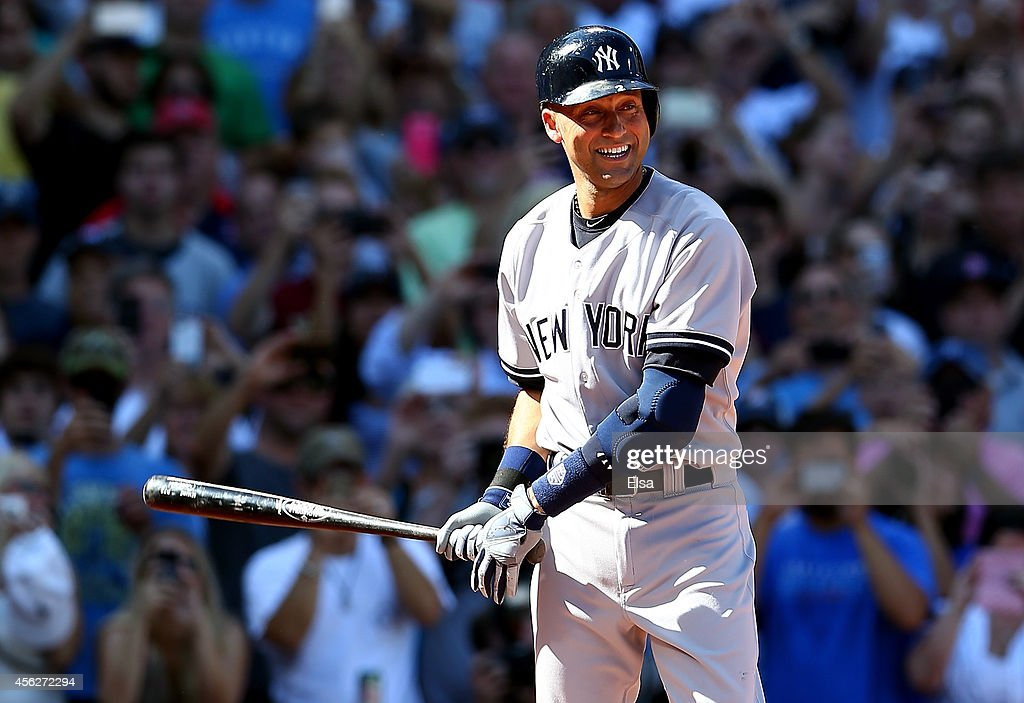 <a gi-track='captionPersonalityLinkClicked' href=/galleries/search?phrase=Derek+Jeter&family=editorial&specificpeople=167125 ng-click='$event.stopPropagation()'>Derek Jeter</a> #2 of the New York Yankees bats against the Boston Red Sox in the first inning during the last game of the season at Fenway Park on September 28, 2014 in Boston, Massachusetts.