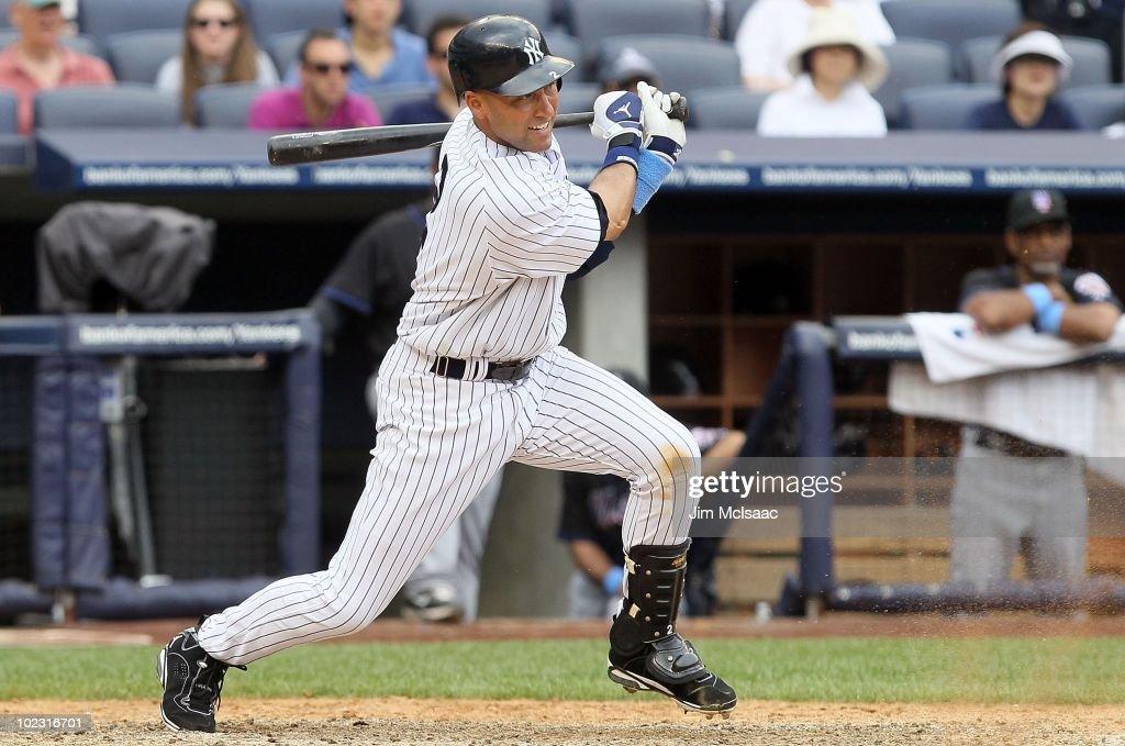 Derek Jeter #2 of the New York Yankees bats against the New York Mets on June 20, 2010 at Yankee Stadium in the Bronx borough of New York City.