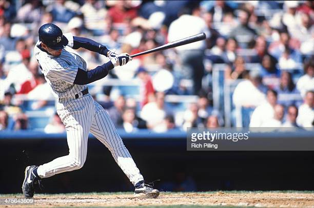 Derek Jeter of the New York Yankees bats during a game at Yankee Stadium on April 11 1996 in the Bronx borough of New York City New York