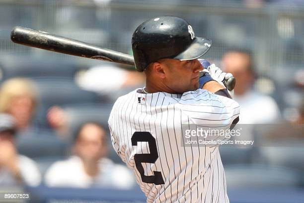 Derek Jeter of the New York Yankees bats during a MLB game against the Baltimore Orioles on July 22 2009 at Yankee Stadium in the Bronx New York