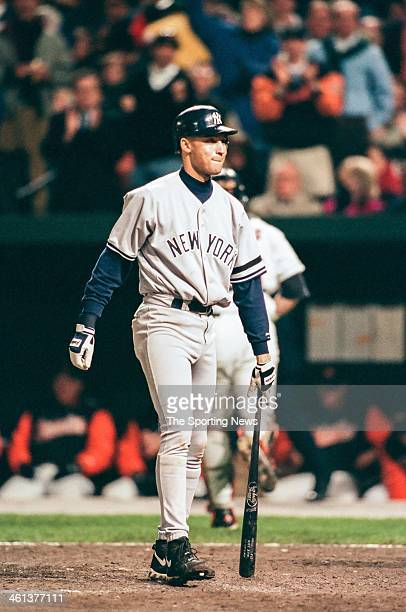 Derek Jeter of the New York Yankees bats during Game Four of the American League Championship Series against the Baltimore Orioles on October 14 1996...