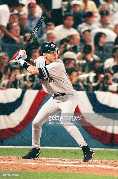 Derek Jeter of the New York Yankees bats during Game Three of the World Series against the Atlanta Braves on October 22 1996 at AtlantaFulton County...