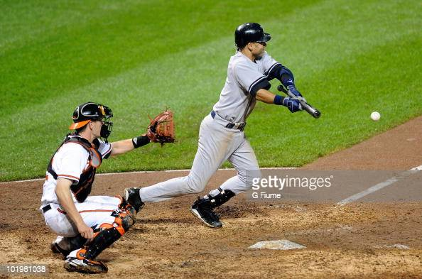 Derek Jeter of the New York Yankees bunts the ball against the Baltimore Orioles at Camden Yards on June 9 2010 in Baltimore Maryland