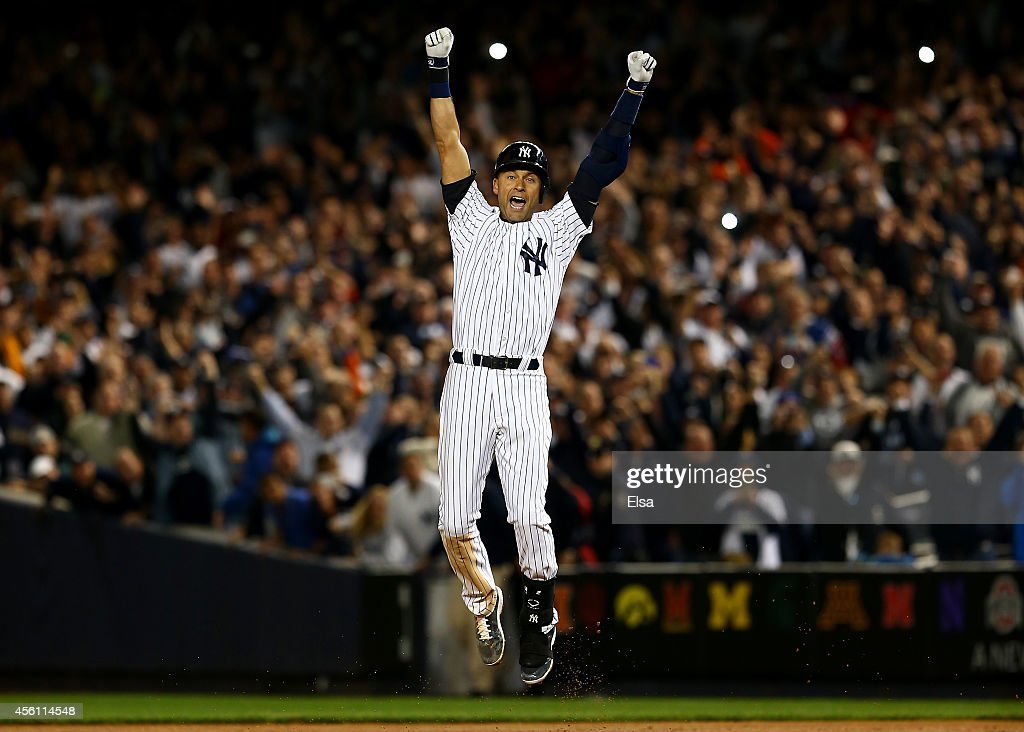 <a gi-track='captionPersonalityLinkClicked' href=/galleries/search?phrase=Derek+Jeter&family=editorial&specificpeople=167125 ng-click='$event.stopPropagation()'>Derek Jeter</a> #2 of the New York Yankees celebrates after a game winning RBI hit in the ninth inning against the Baltimore Orioles in his last game ever at Yankee Stadium on September 25, 2014 in the Bronx borough of New York City.