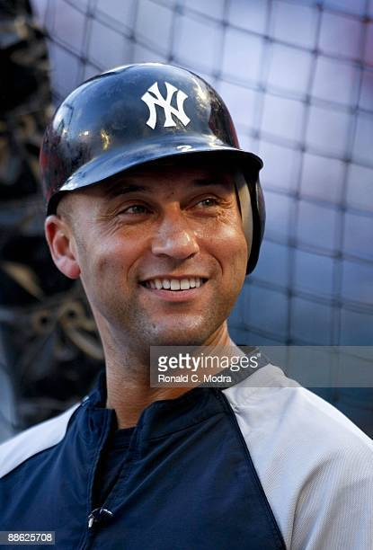 Derek Jeter of the New York Yankees during batting practice before a MLB game against the Florida Marlins at LandShark Stadium on June 19 2009 in...